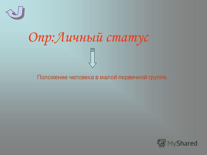 Опр:Личный статус Положение человека в малой первичной группе.