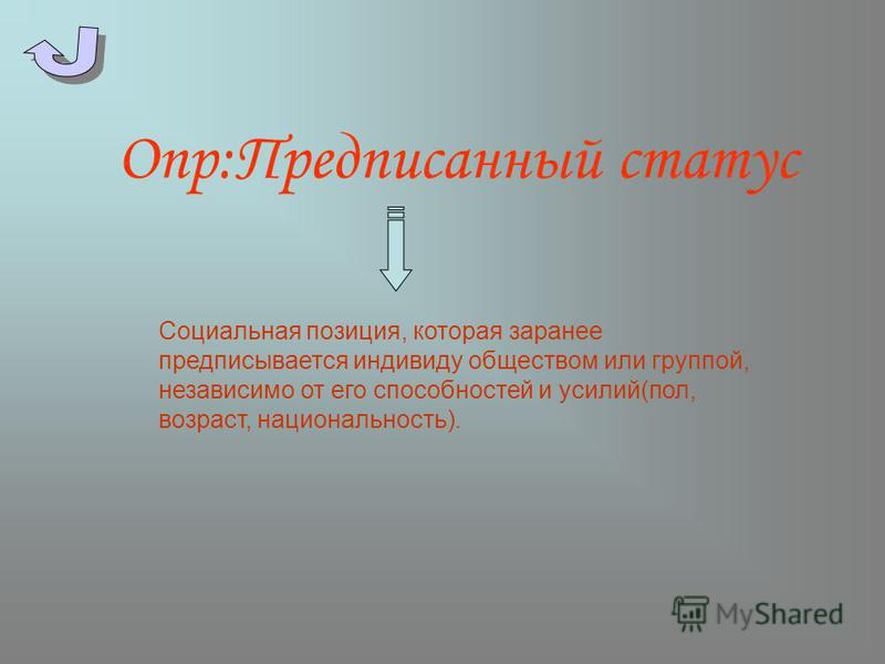 Опр:Предписанный статус Социальная позиция, которая заранее предписывается индивиду обществом или группой, независимо от его способностей и усилий(пол, возраст, национальность).