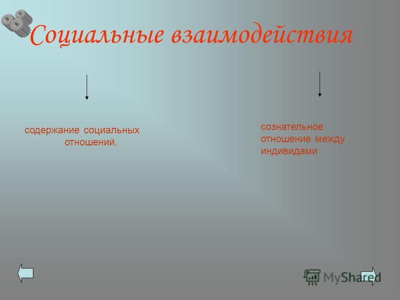 Социальные взаимодействия содержание социальных отношений. сознательное отношение между индивидами