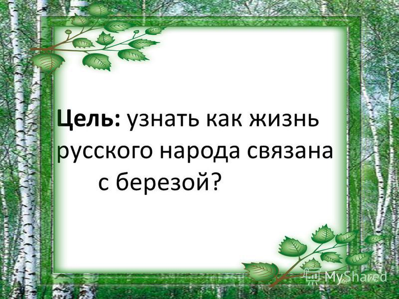 Цель: узнать как жизнь русского народа связана с березой?