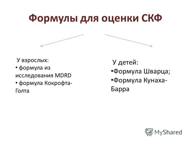 Формулы для оценки СКФ У взрослых: формула из исследования MDRD формула Кокрофта- Голта У детей: Формула Шварца; Формула Кунаха- Барра