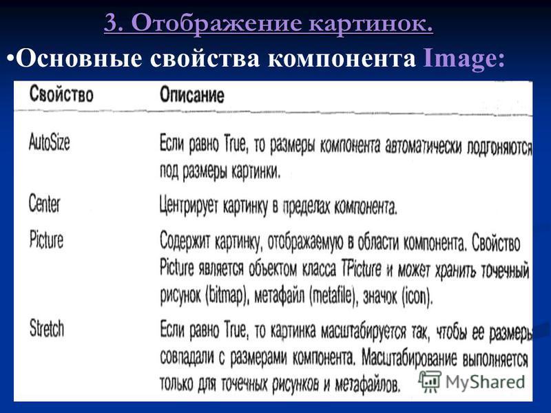Для отображения картинки (рисунка, фотографии и т.п.) на форме применяется компонент Image. 3. Отображение картинок.