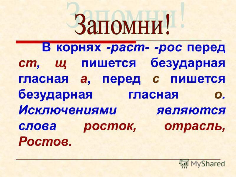 В корнях -раст- -рос перед ст, щ пишется безударная гласная а, перед с пишется безударная гласная о. Исключениями являются слова росток, отрасль, Ростов.
