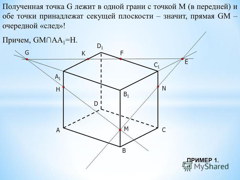 A B C D B1B1 C1C1 D1D1 M N K A1A1 E F G Полученная точка G лежит в одной грани с точкой М (в передней) и обе точки принадлежат секущей плоскости – значит, прямая GM – очередной «след»! Причем, GMАА 1 =Н. H ПРИМЕР 1.