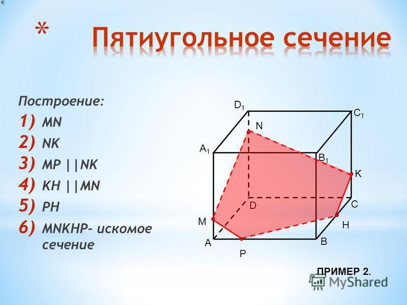 Построение: 1) MN 2) NK 3) MP ||NK 4) KH ||MN 5) PH 6) MNKHP- искомое сечение A B D C A1A1 B1B1 C1C1 D1D1 N K M P H ПРИМЕР 2.