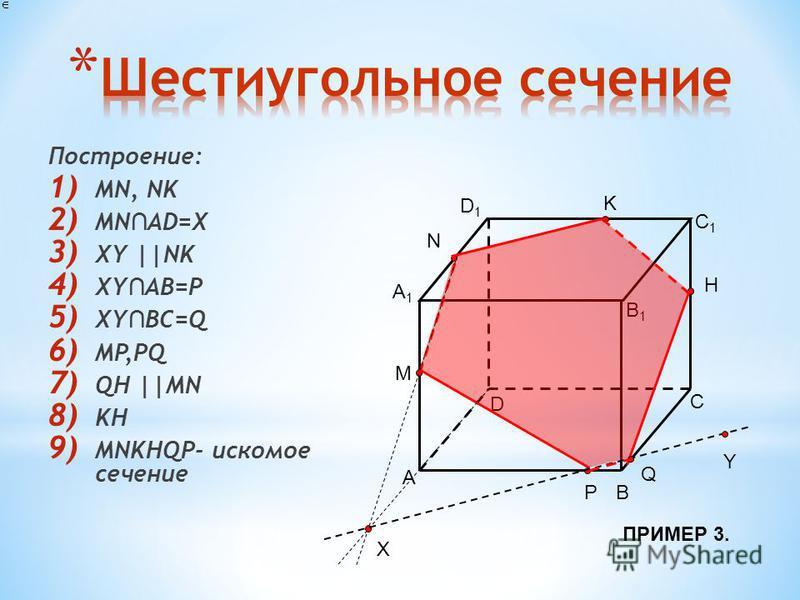 Построение: 1) MN, NK 2) MN AD=X 3) XY ||NK 4) XY AB=P 5) XY BC=Q 6) MP,PQ 7) QH ||MN 8) KH 9) MNKHQP- искомое сечение A B D C A1A1 B1B1 C1C1 D1D1 N K M P H X Y Q ПРИМЕР 3.