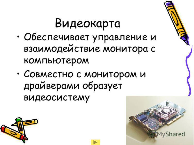 Видеокарта Обеспечивает управление и взаимодействие монитора с компьютером Совместно с монитором и драйверами образует видеосистему