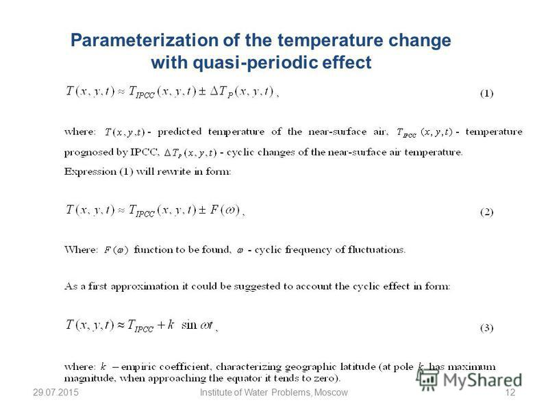 29.07.2015Institute of Water Problems, Moscow12 Parameterization of the temperature change with quasi-periodic effect