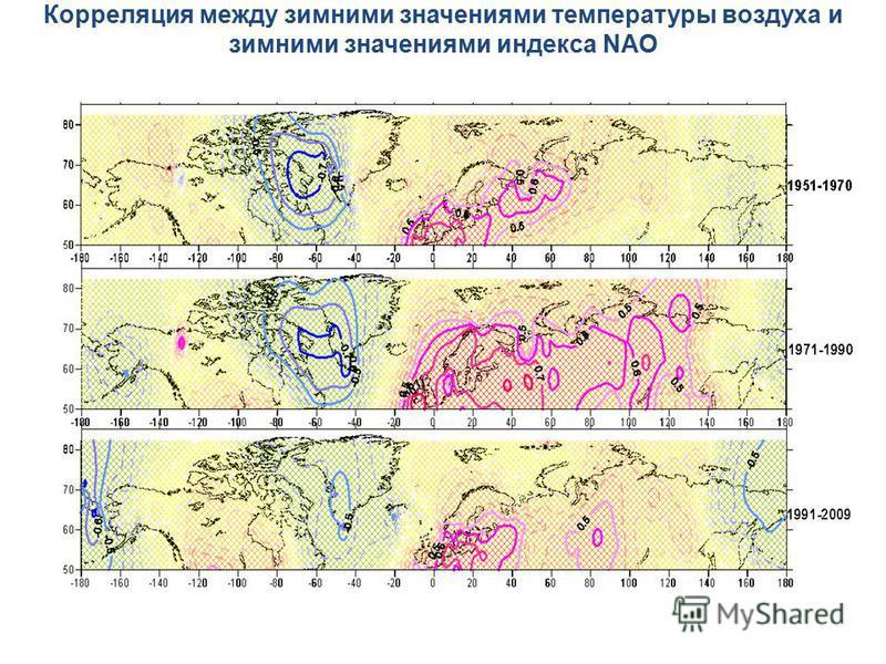 Корреляция между зимними значениями температуры воздуха и зимними значениями индекса NAO