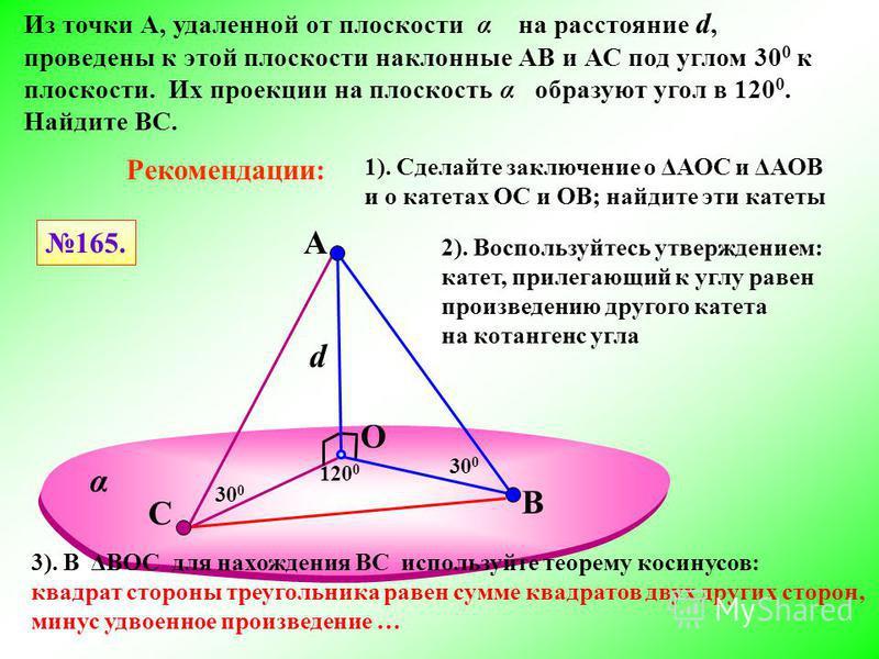 A O Из точки А, удаленной от плоскости α на расстояние d, проведены к этой плоскости наклонные АВ и АС под углом 30 0 к плоскости. Их проекции на плоскость α образуют угол в 120 0. Найдите ВС. В 120 0 30 0 165. С d Рекомендации: 1). Сделайте заключен