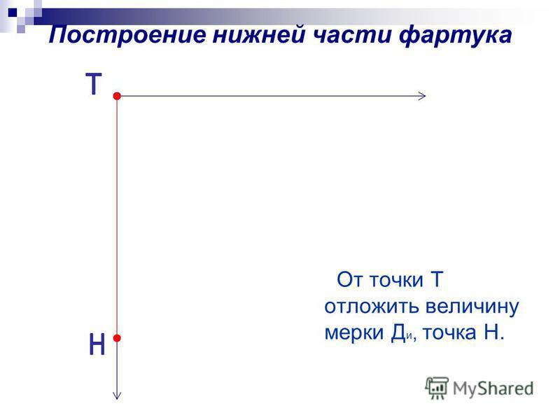 От точки Т отложить величину мерки Д и, точка Н.