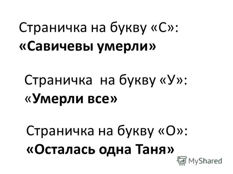 Страничка на букву «С»: «Савичевы умерли» Страничка на букву «У»: «Умерли все» Страничка на букву «О»: «Осталась одна Таня»