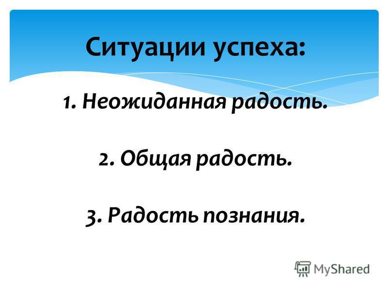 Ситуации успеха: 1. Неожиданная радость. 2. Общая радость. 3. Радость познания.