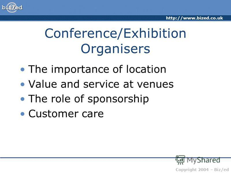 http://www.bized.co.uk Copyright 2004 – Biz/ed Conference/Exhibition Organisers The importance of location Value and service at venues The role of sponsorship Customer care