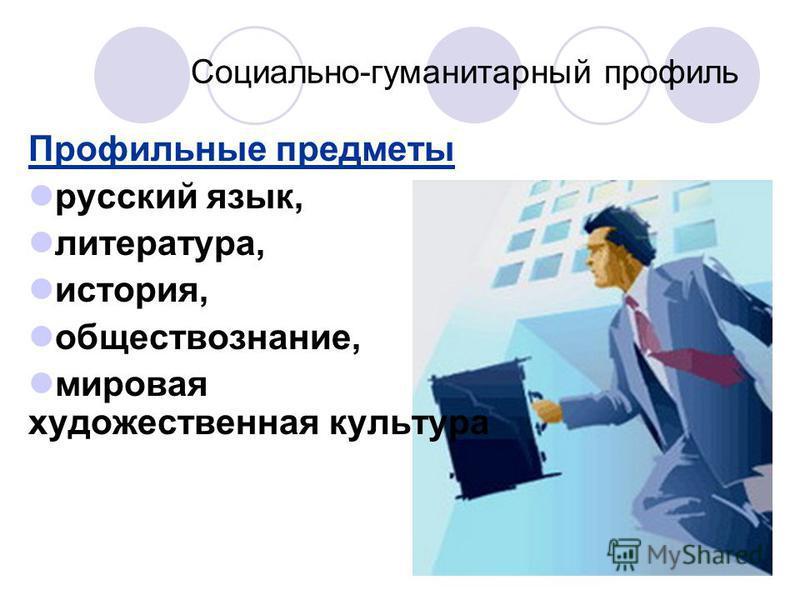 Социально-гуманитарный профиль Профильные предметы русский язык, литература, история, обществознание, мировая художественная культура
