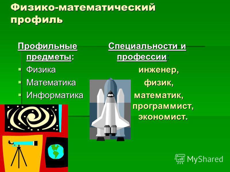 Физико-математический профиль Профильные предметы: Физика Физика Математика Математика Информатика Информатика Специальности и профессии: инженер,физик, математик, программист, экономист.