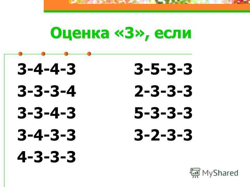 3-4-4-3 3-5-3-3 3-3-3-4 2-3-3-3 3-3-4-3 5-3-3-3 3-4-3-3 3-2-3-3 4-3-3-3 Оценка «3», если