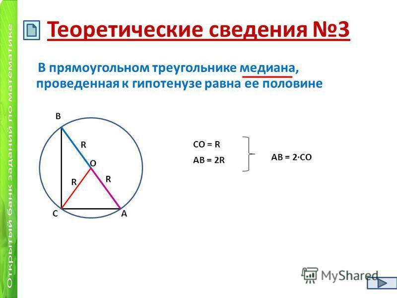 Теоретические сведения 3 В прямоугольном треугольнике медиана, проведенная к гипотенузе равна ее половине R R R О С В А АВ = 2R СО = R АВ = 2СО