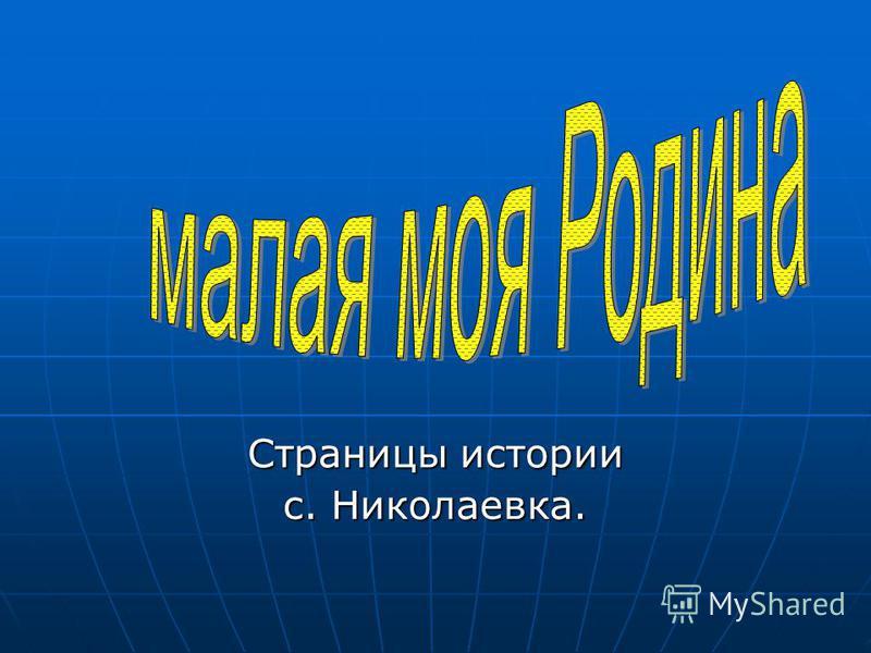 Страницы истории с. Николаевка.