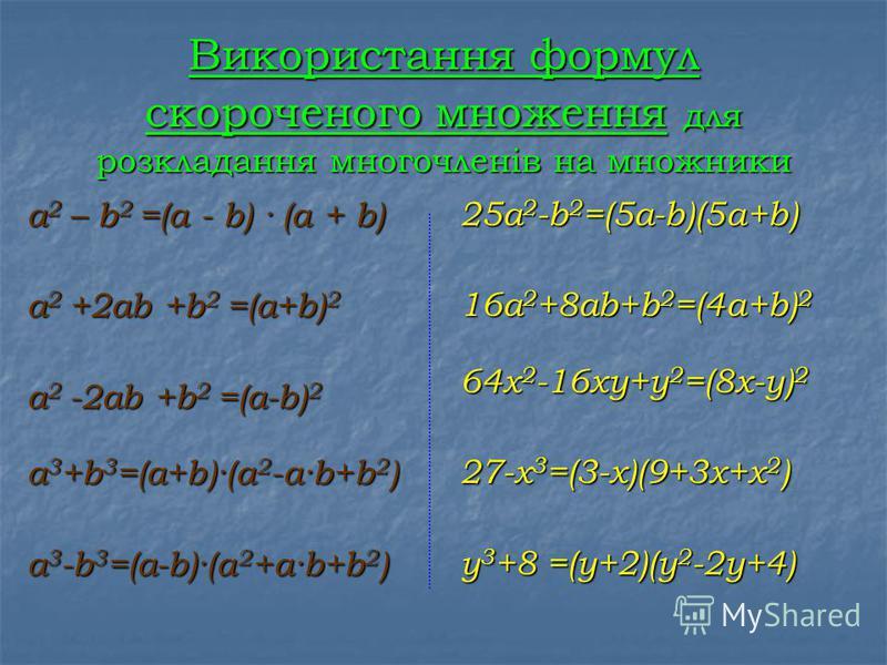Розкладання многочленів на множники - подання многочлена у вигляді добутку кількох многочленів або одночлена на многочлен. Винесення спільного множника за дужки a · b + a · c = a · ( b + c ) Спосіб групування Подати многочлен у вигляді добутку m · k