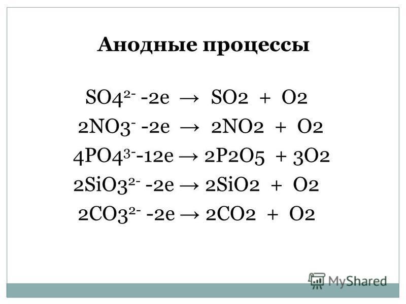 Анодные процессы SO4 2- -2e SO2 + O2 2NO3 - -2e 2NO2 + O2 4PO4 3- -12e 2P2O5 + 3O2 2SiO3 2- -2e 2SiO2 + O2 2CO3 2- -2e 2CO2 + O2