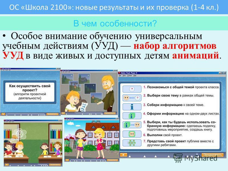 ОС «Школа 2100»: новые результаты и их проверка (1-4 кл.) Почему новые? В чем особенности? Особое внимание обучению универсальным учебным действиям (УУД) набор алгоритмов УУД в виде живых и доступных детям анимаций. В чем особенности?