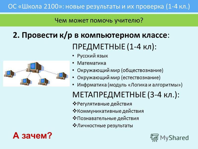 ОС «Школа 2100»: новые результаты и их проверка (1-4 кл.) 2. Провести к/р в компьютерном классе: ПРЕДМЕТНЫЕ (1-4 кл): Русский язык Математика Окружающий мир (обществознание) Окружающий мир (естествознание) Инфрматика (модуль «Логика и алгоритмы») МЕТ