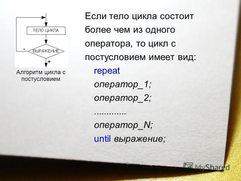 Если тело цикла состоит более чем из одного оператора, то цикл с постусловием имеет вид: repeat оператор_1; оператор_2;............. оператор_N; until выражение; Алгоритм цикла с постусловием