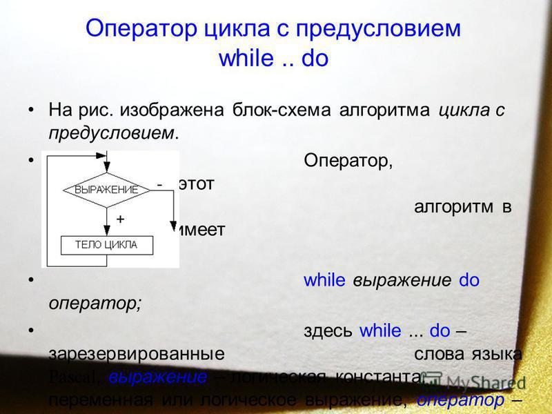 Оператор цикла с предусловием while.. do На рис. изображена блок-схема алгоритма цикла с предусловием. Оператор, реализующий этот алгоритм в языке Pascal, имеет вид: while выражение do оператор; здесь while... do – зарезервированные слова языка Pasca