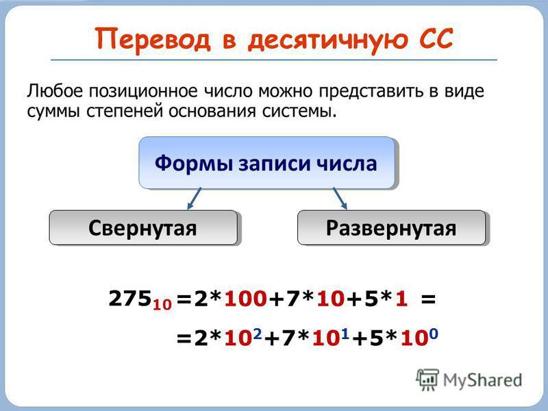 Перевод в десятичную СС Формы записи числа Развернутая Свернутая =2*100+7*10+5*1 = =2*10 2 +7*10 1 +5*10 0 275 10 Любое позиционное число можно представить в виде суммы степеней основания системы.