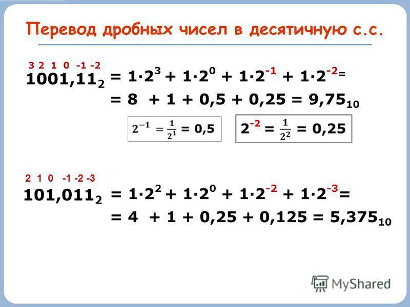 Перевод дробных чисел в десятичную с.с. 1001,11 2 3 2 1 0 -1 -2 = 1·2 3 + 1·2 0 + 1·2 -1 + 1·2 -2 = = 8 + 1 + 0,5 + 0,25 = 9,75 10 101,011 2 2 1 0 -1 -2 -3 = 1·2 2 + 1·2 0 + 1·2 -2 + 1·2 -3 = = 4 + 1 + 0,25 + 0,125 = 5,375 10