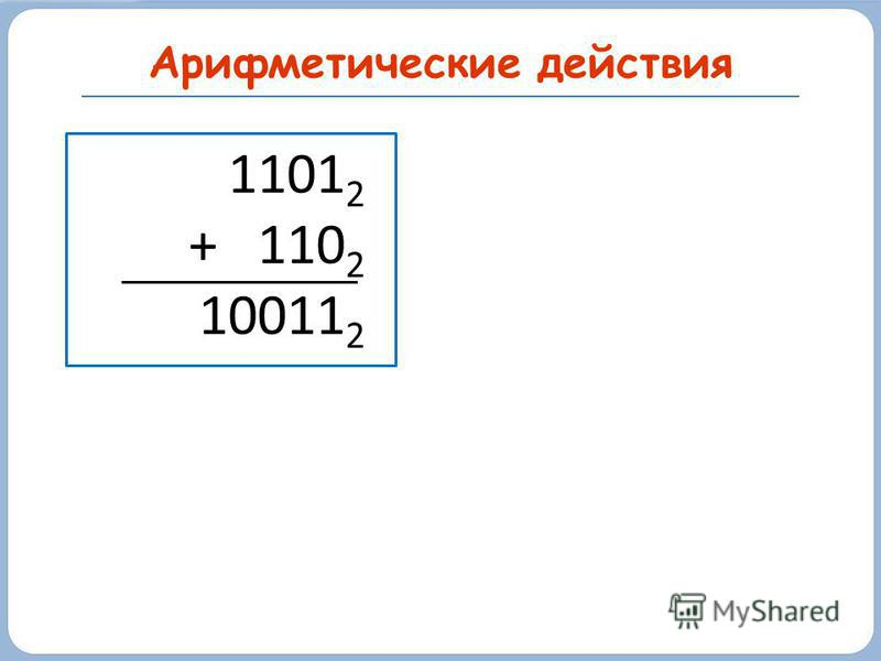 Арифметические действия 1101 2 + 110 2 10011 2