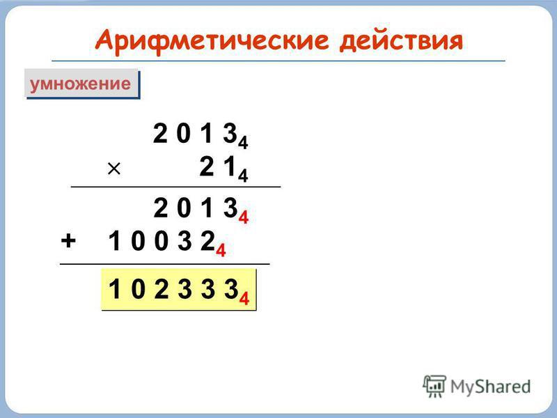 Арифметические действия умножение 2 0 1 3 4 2 1 4 2 0 1 3 4 + 1 0 0 3 2 4 1 0 2 3 3 3 4