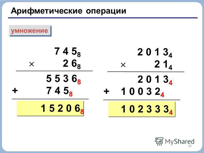 50 Арифметические операции умножение 7 4 5 8 2 6 8 5 5 3 6 8 + 7 4 5 8 1 5 2 0 6 8 2 0 1 3 4 2 1 4 2 0 1 3 4 + 1 0 0 3 2 4 1 0 2 3 3 3 4