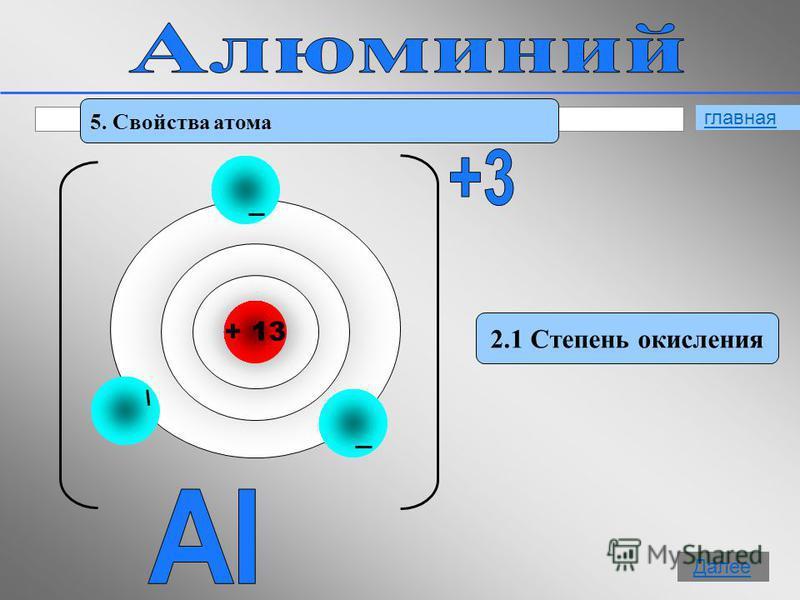 11 5. Свойства атома 2.1 Степень окисления + 13 главная Далее