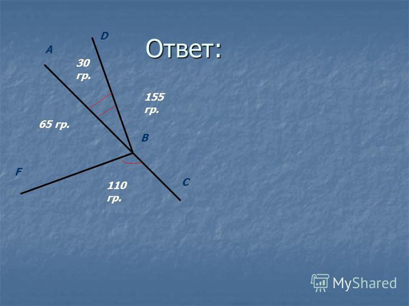 Ответ: С A D B F 30 гр. 65 гр. 155 гр. 110 гр.