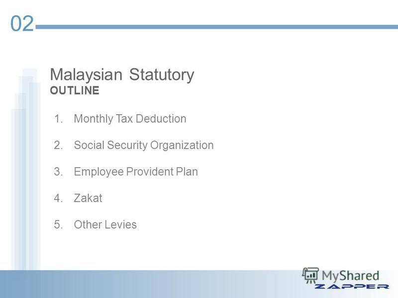 Malaysian Statutory OUTLINE 02 1.Monthly Tax Deduction 2.Social Security Organization 3.Employee Provident Plan 4.Zakat 5.Other Levies
