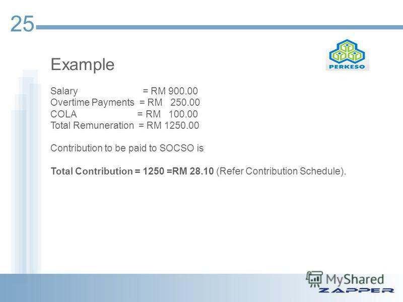 Example Salary = RM 900.00 Overtime Payments = RM 250.00 COLA = RM 100.00 Total Remuneration = RM 1250.00 Contribution to be paid to SOCSO is Total Contribution = 1250 =RM 28.10 (Refer Contribution Schedule). 25
