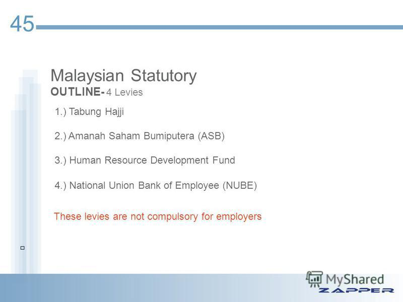 Malaysian Statutory OUTLINE- 4 Levies 45 1.) Tabung Hajji 2.) Amanah Saham Bumiputera (ASB) 3.) Human Resource Development Fund 4.) National Union Bank of Employee (NUBE) These levies are not compulsory for employers