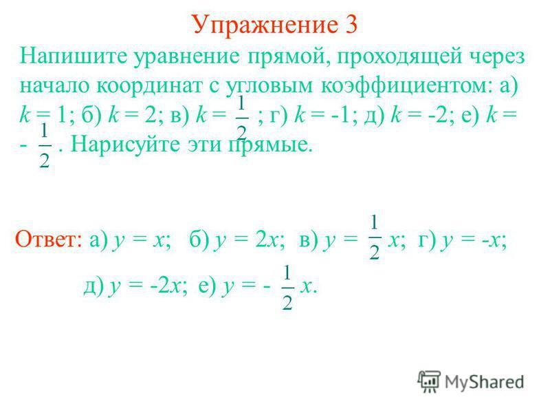 Упражнение 3 Напишите уравнение прямой, проходящей через начало координат с угловым коэффициентом: а) k = 1; б) k = 2; в) k = ; г) k = -1; д) k = -2; е) k = -. Нарисуйте эти прямые. Ответ: а) y = x;б) y = 2x; в) y = x; г) y = -x; д) y = -2x; е) y = -