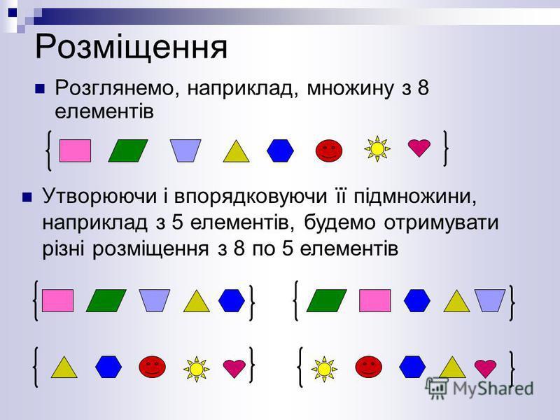 Розміщення Розглянемо, наприклад, множину з 8 елементів Утворюючи і впорядковуючи її підмножини, наприклад з 5 елементів, будемо отримувати різні розміщення з 8 по 5 елементів