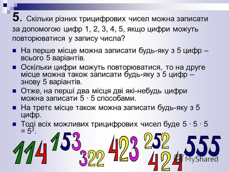 5. Скільки різних трицифрових чисел можна записати за допомогою цифр 1, 2, 3, 4, 5, якщо цифри можуть повторюватися у запису числа? На перше місце можна записати будь-яку з 5 цифр – всього 5 варіантів. Оскільки цифри можуть повторюватися, то на друге