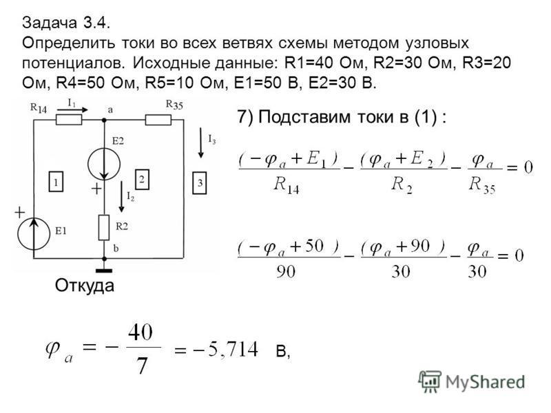 7) Подставим токи в (1) : Задача 3.4. Определить токи во всех ветвях схемы методом узловых потенциалов. Исходные данные: R1=40 Ом, R2=30 Ом, R3=20 Ом, R4=50 Ом, R5=10 Ом, E1=50 В, E2=30 В. В, Откуда