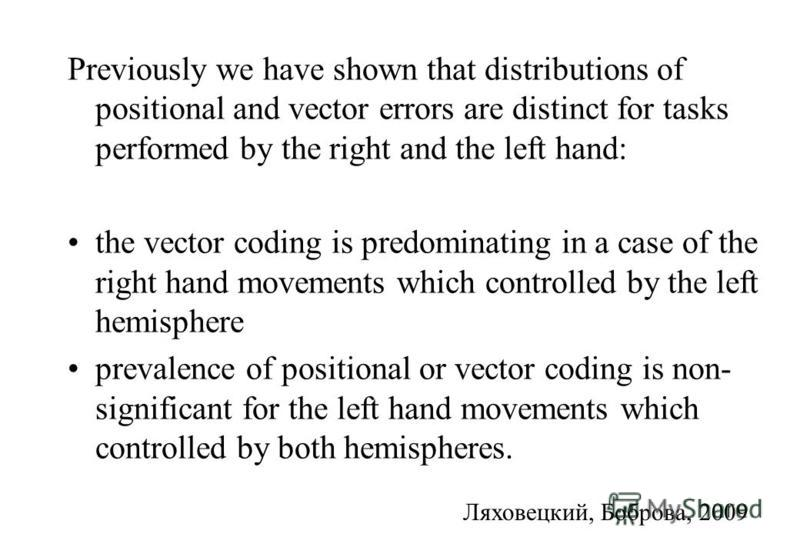 Previously we have shown that distributions of positional and vector errors are distinct for tasks performed by the right and the left hand: the vector coding is predominating in a case of the right hand movements which controlled by the left hemisph