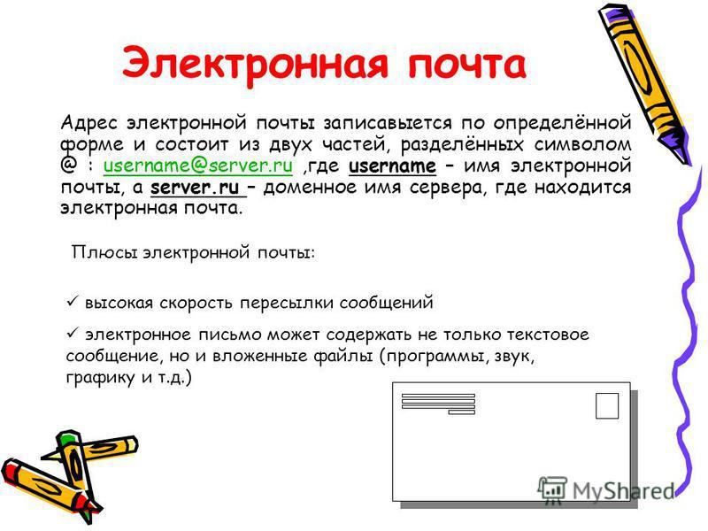 Электронная почта Адрес электронной почты записывается по определённой форме и состоит из двух частей, разделённых символом @ : username@server.ru,где username – имя электронной почты, а server.ru – доменное имя сервера, где находится электронная поч