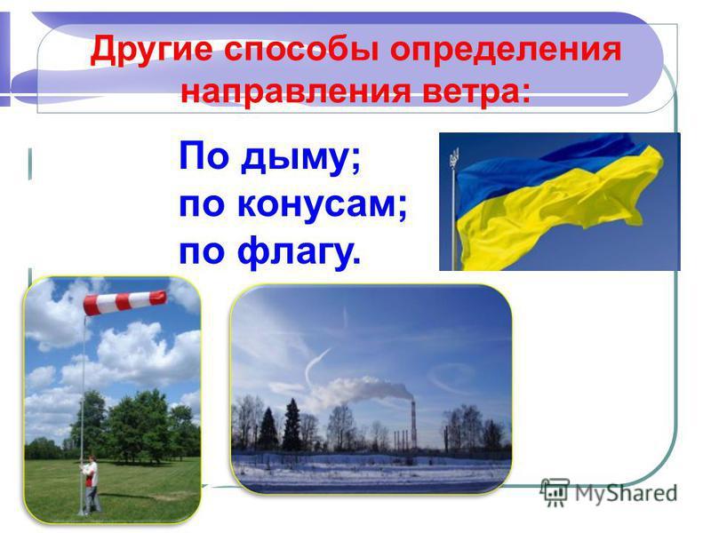 Другие способы определения направления ветра: По дыму; по конусам; по флагу.