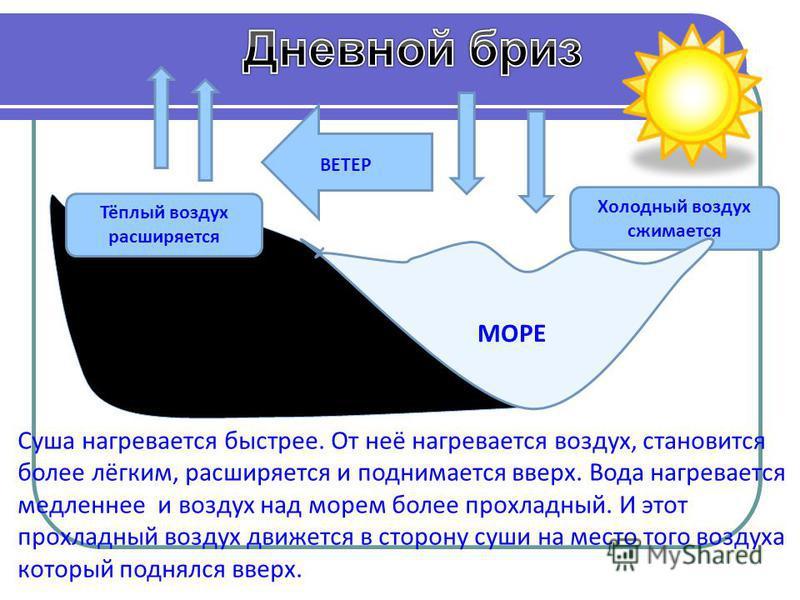 Холодный воздух сжимается Тёплый воздух расширяется СУША МОРЕ ВЕТЕР Суша нагревается быстрее. От неё нагревается воздух, становится более лёгким, расширяется и поднимается вверх. Вода нагревается медленнее и воздух над морем более прохладный. И этот