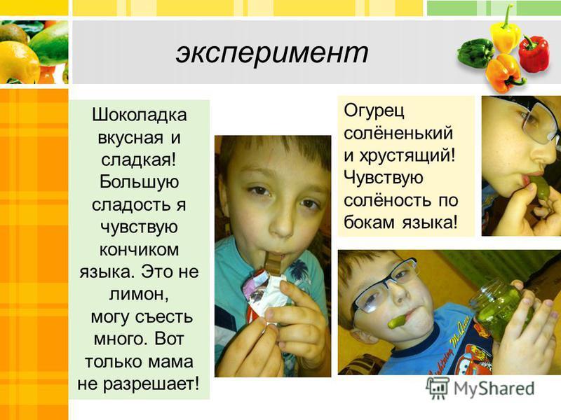 эксперимент Шоколадка вкусная и сладкая! Большую сладость я чувствую кончиком языка. Это не лимон, могу съесть много. Вот только мама не разрешает! Огурец солёненький и хрустящий! Чувствую солёность по бокам языка!