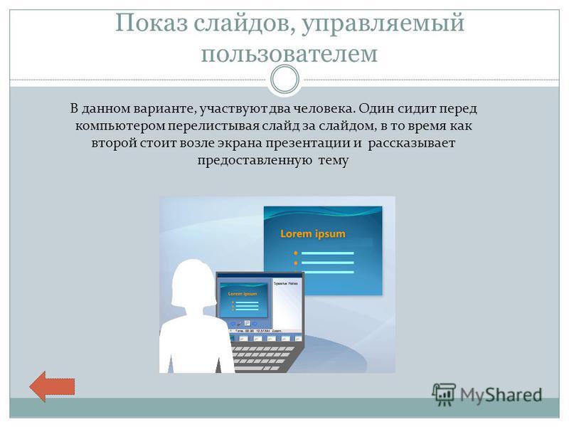 Показ слайдов, управляемый пользователем В данном варианте, участвуют два человека. Один сидит перед компьютером перелистывая слайд за слайдом, в то время как второй стоит возле экрана презентации и рассказывает предоставленную тему