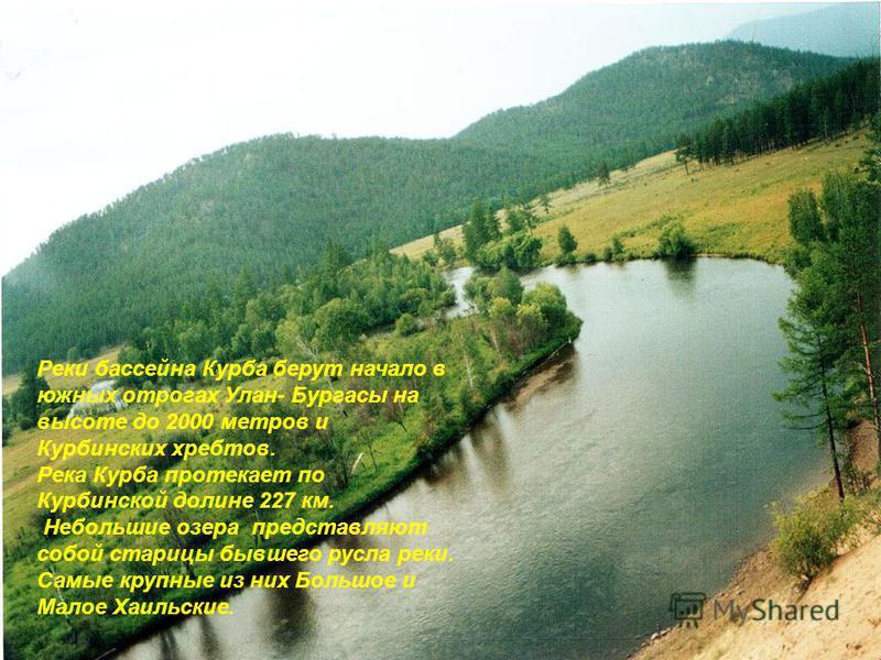 Реки бассейна Курба берут начало в южных отрогах Улан- Бургасы на высоте до 2000 метров и Курбинских хребтов. Река Курба протекает по Курбинской долине 227 км. Небольшие озера представляют собой старицы бывшего русла реки. Самые крупные из них Большо